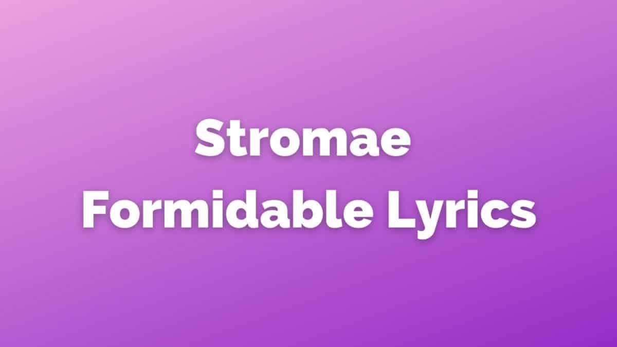 Formidable lyrics
